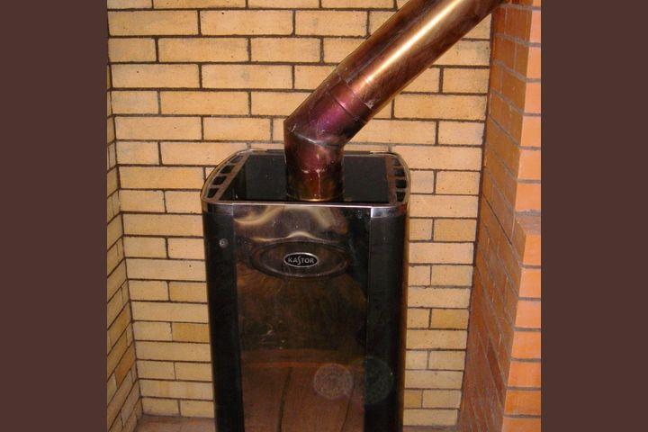 Печь банная обложенная шамотным кирпичем