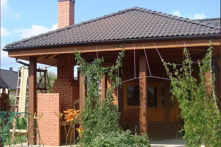 Барбекю садовое с плитой под казан